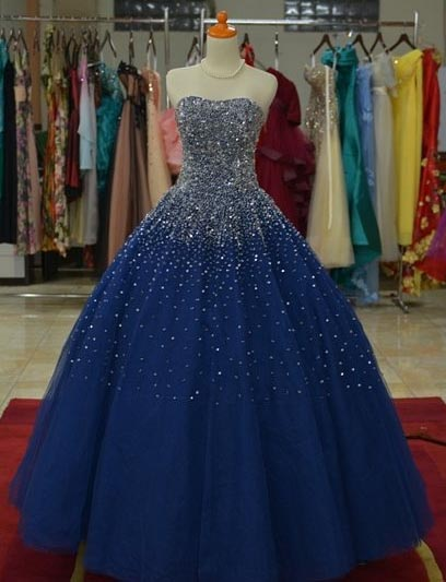 Popular Two Piece Brush Train Beaded Quinceanera Dress in Navy Blue