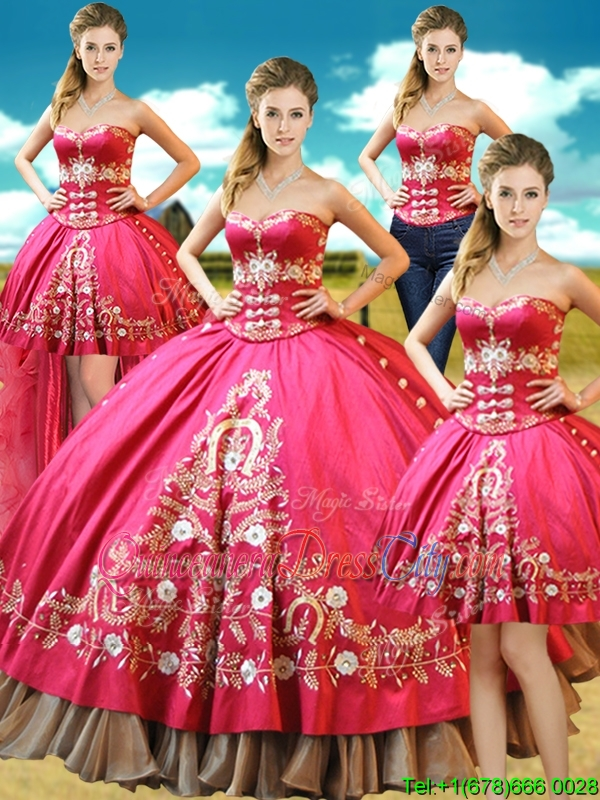 taffeta Hot Pink Detachable Quinceanera Dresses with Embroidery and Beading