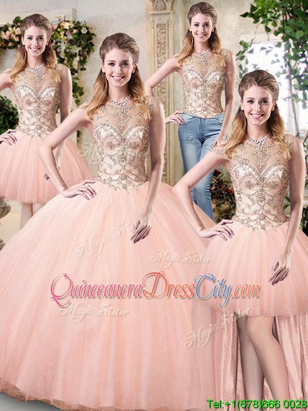 4 pieces detachable skirt quinceanera dress