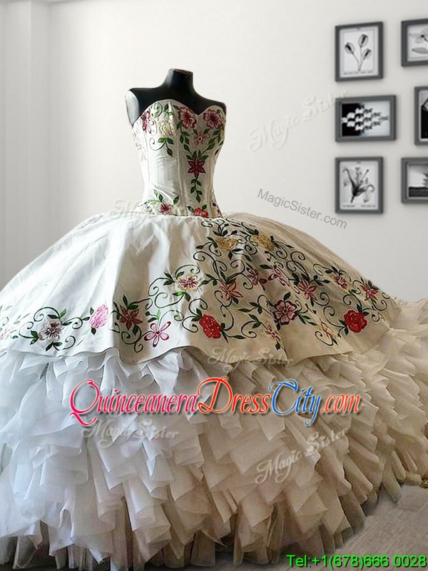 white quinceanera dresses,Embroideried quinceanera dress,Ruffled quinceanera dress