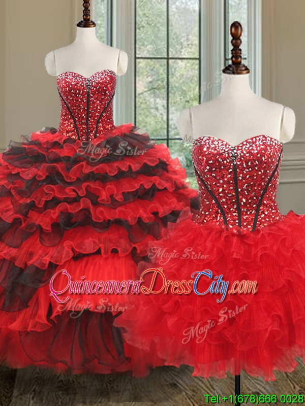 Modern Red and Black Detachable Quinceanera Dress, Three Pieces Quinceanera Dresses, removable skirt quinceanera dress,unique and beautiful quinceanera dress on wholesale cheap price