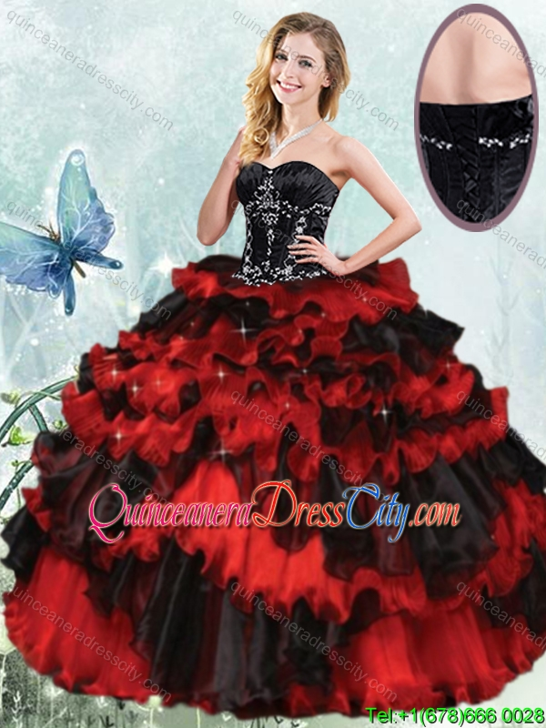 Fashionable Two Tone Black and red Organza Quinceanera Dress with Beading and Ruffled Layers