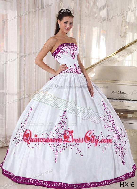 White and Purple Floor-length Satin Embroidery Quinceanera Dress