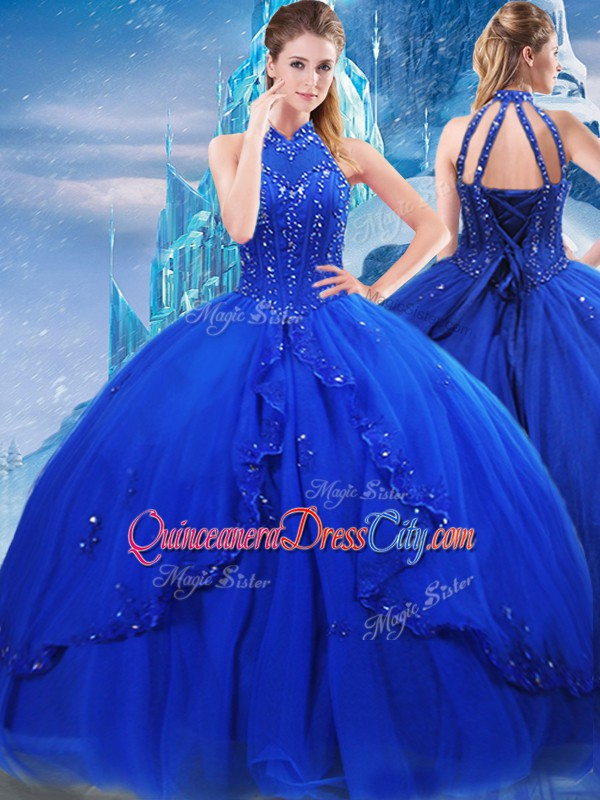 Royal Blue Sleeveless Brush Train Beading and Ruffles Lace Up Quinceanera Gowns