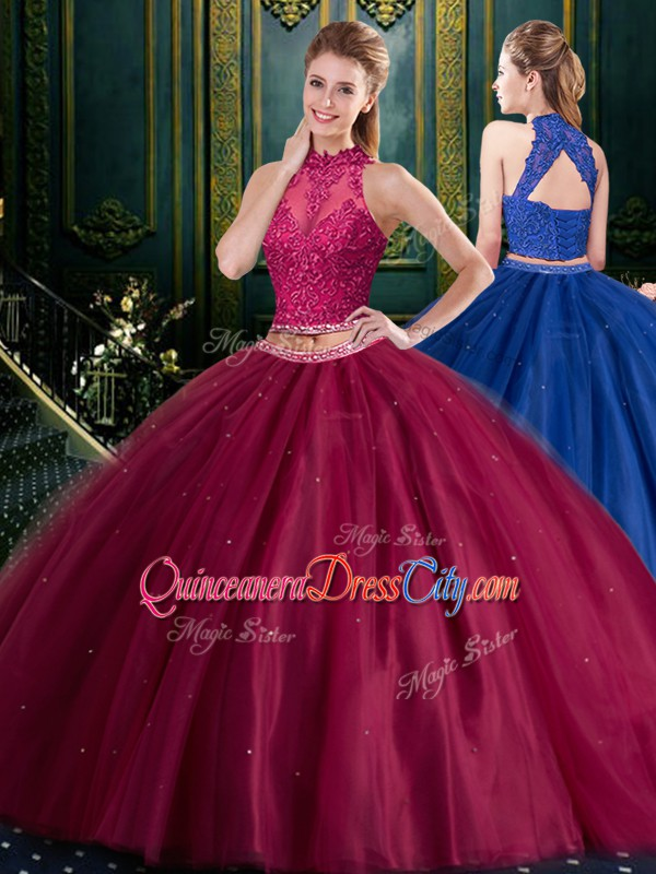 Halter Top Burgundy Two Pieces Tulle High-neck Sleeveless Appliques Floor Length Lace Up Vestidos de Quinceanera