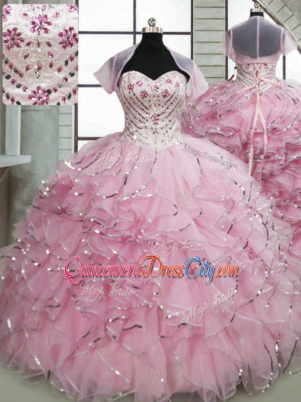 Baby Pink Quinceanera Gown Sweetheart Sleeveless Brush Train Lace Up