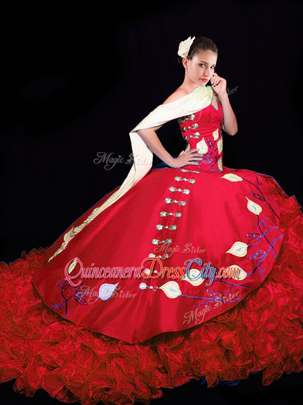 Red Sleeveless Taffeta Brush Train Lace Up Quinceanera Dress for Military Ball and Sweet 16 and Quinceanera