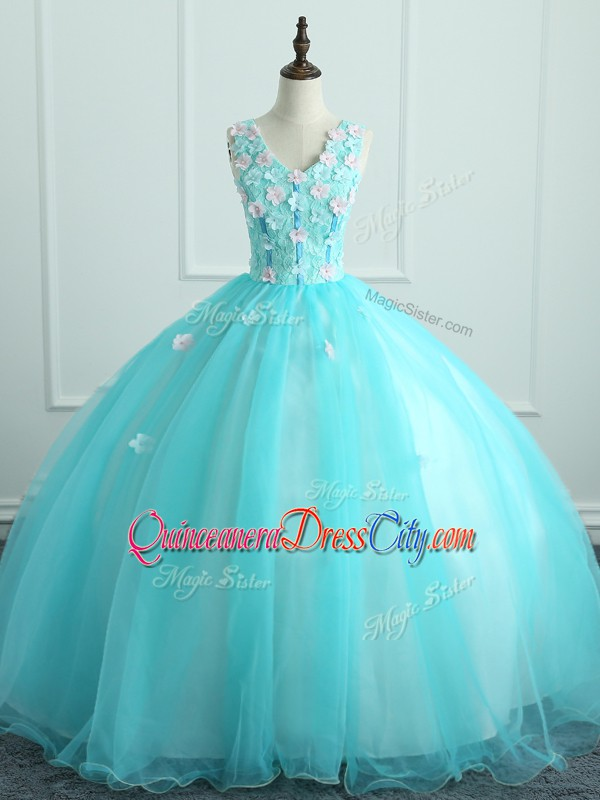 Clearance Floor Length Aqua Blue Quinceanera Dress Organza Sleeveless Appliques