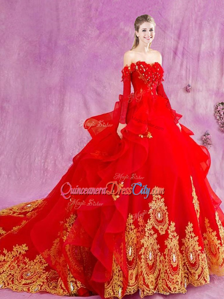 Court Train quinceanera dresses,Sweet 16 Dresses,Red Tulle Lace Up quinceanera dress