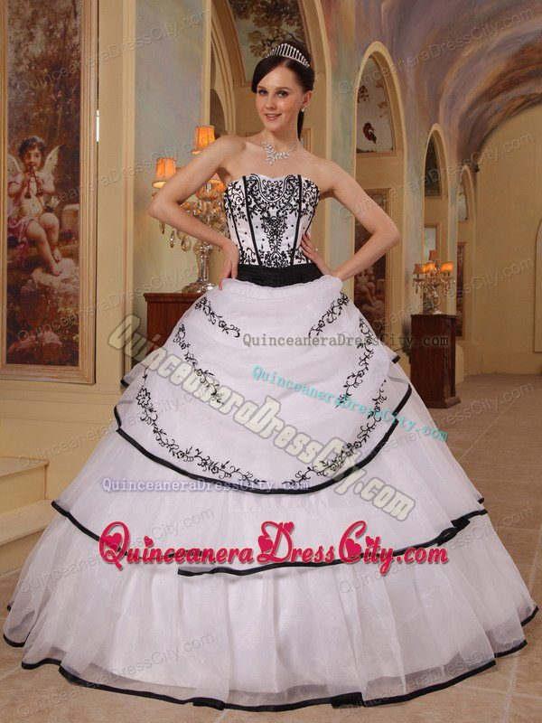 white and black quinceanera dress
