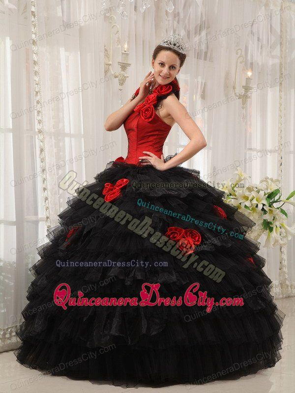 Black And Red Halter Top Neckline Ruffles Hand Flowers Quinceanera Gown Dress