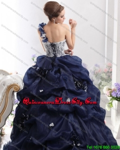 2021 One Shoulder Ruffles Quinceanera Dresses with Hand Made Flowers and Pick Ups