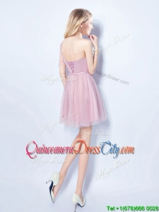 Cheap Applique and Belted One Shoulder Pink Dama Dress with Short Sleeve