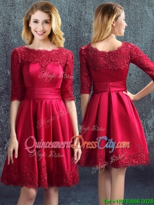 Gorgeous Half Sleeves Bateau Zipper Up Wine Red Dama Dress with Lace