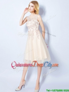 New Style Scoop Tulle Applique Bodice Champagne Dama Dress in Knee Length