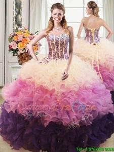 Beautiful Puffy Sweetheart Multi Color Detachable Quinceanera Dress with Beading and Ruffles