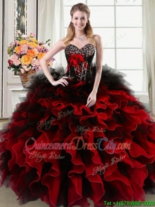Luxurious Sweetheart Beaded and Ruffled Black and Red Quinceanera Dress