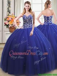 Pretty Puffy Sweetheart Beaded Bodice Royal Blue Detachable Quinceanera Dress in Tulle
