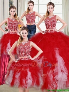 Two Piece See Through Scoop Beaded Detachable Quinceanera Dress in Red and White