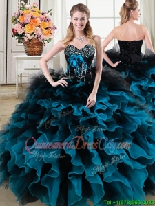 Classical Beaded and Ruffled Quinceanera Gown in Black and Blue