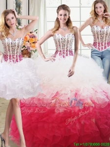 Discount Two for One Organza Beaded Bodice and Ruffled Detachable Quinceanera Dress in White and Red