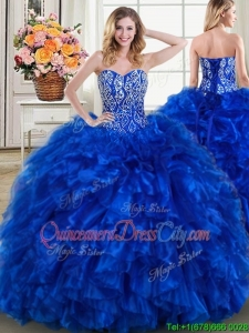 Modest Ball Gown Brush Train Royal Blue Detachable Quinceanera Dress with Beading and Ruffles