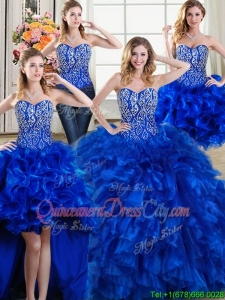 Modest Three for One Puffy Beaded and Ruffled Royal Blue Detachable Quinceanera