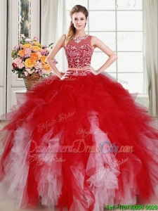 Sexy Two Piece See Through Scoop Red and White Quinceanera Dress with Beading
