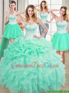 Beautiful Three for One Visible Boning Mint Quinceanera Dress with Beaded Bodice and Ruffles