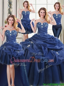 Cheap Applique and Pick Ups Removable Quinceanera Gowns in Navy Blue