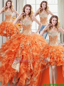 Discount Sweetheart Organza and Sequins Ruffled Detachable Quinceanera Dress in Orange