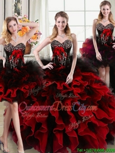 Exquisite Handcrafted Flowers Two Tone Detachable Quinceanera Dresses with Beading and Ruffles