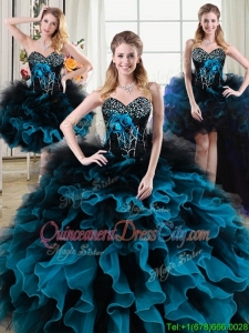 Gorgeous Beaded and Ruffled Two Tone Removable Quinceanera Gowns with Handcrafted Flowers