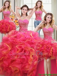 Inexpensive Sweetheart Beaded and Ruffled Two Tone Detachable Quinceanera Dress in Organza