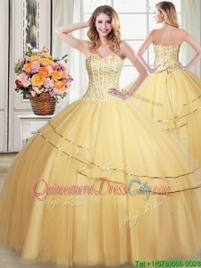 Informal Puffy Sweetheart Tulle Gold Detachable Quinceanera Dress with Sequined and Beading
