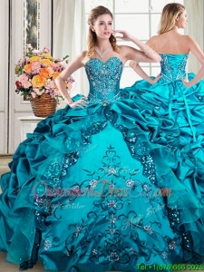 Latest Beaded Bodice and Embroideried Teal Removable Quinceanera Gowns with Bubbles
