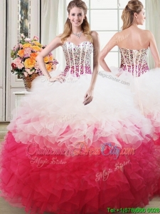 Most Popular Puffy Beaded Bodice and Ruffled Quinceanera Dress in White and Red