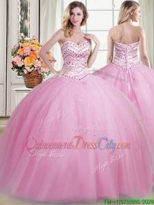 Top Seller Sweetheart Beaded Bodice Removable Quinceanera Gowns in Rose Pink