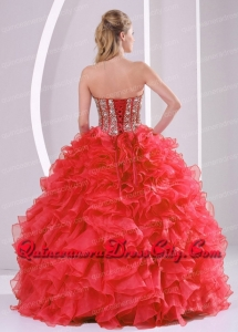 2021 Puffy Sweetheart Long Lace Up Sweet 16 Dresses with Beading Ruffles
