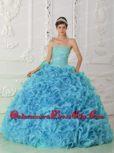 Organza Ball Gown Strapless Beading Blue 2014 Sweet 16 Dresses with Ruffles