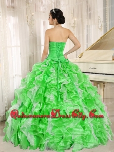 Spring Green Beaded and Ruffles Custom Made in 2014 Sweet 16 Dresses