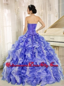 Affordable Ball Gown Strapless Ruffles Organza Embroidery Lavender Quinceanera Dress