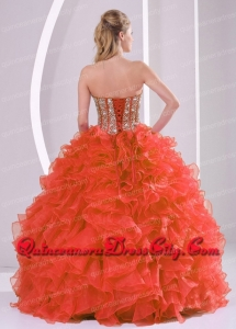 Affordable Ball Gown Sweetheart Ruffles and Beaded Decorate Coral Red Quinceanera Dresses