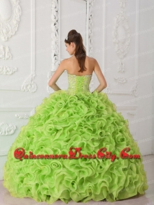 Ball Gown Strapless Organza Yellow Green Affordable Quinceanera Dresses with Beading