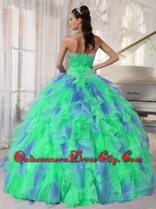Designer Green and Blue Sweetehart Ruffles and Appliques Quinceanera Dress