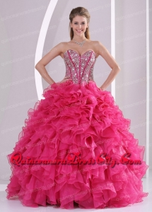 Designer Hot Pink Ball Gown Sweetheart Ruffles and Beading Long Organza Quinceanera Dresses