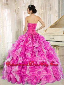 Designer Hot Pink Beaded and Ruffles Custom Made For Quinceanera Dress