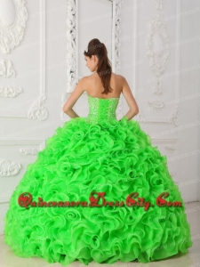 Designer Spring Green Ball Gown Strapless Organza Beading Quinceanera Dress with Ruffles