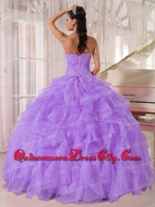 Ball Gown Strapless Lavender Organza Beading Fashionable Quinceanera Dresses for Party