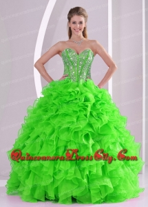 Ball Gown Sweetheart Popular In Stock Quincenaera Dresses with Beading and Ruffles